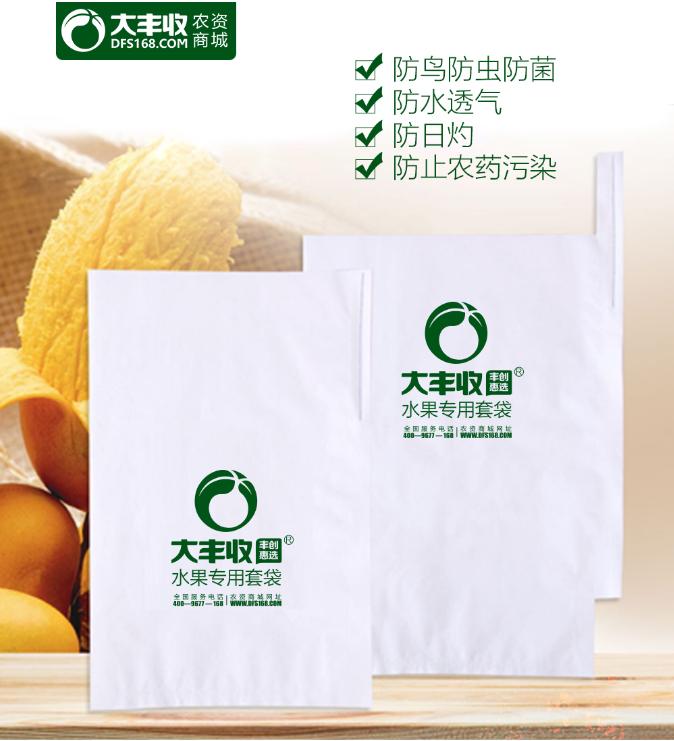 凯特、象牙、金煌芒果套袋白色带把纸袋防水透气育果袋 单层芒果袋白色木浆纸 50g 23cm*31cm