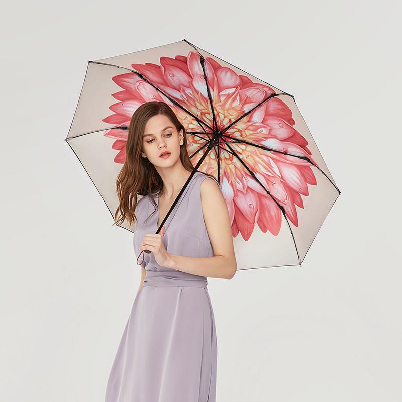 蕉下 小黑伞系列防晒遮阳防紫外线 三折晴雨伞女 花崎 图片色 1Pcs