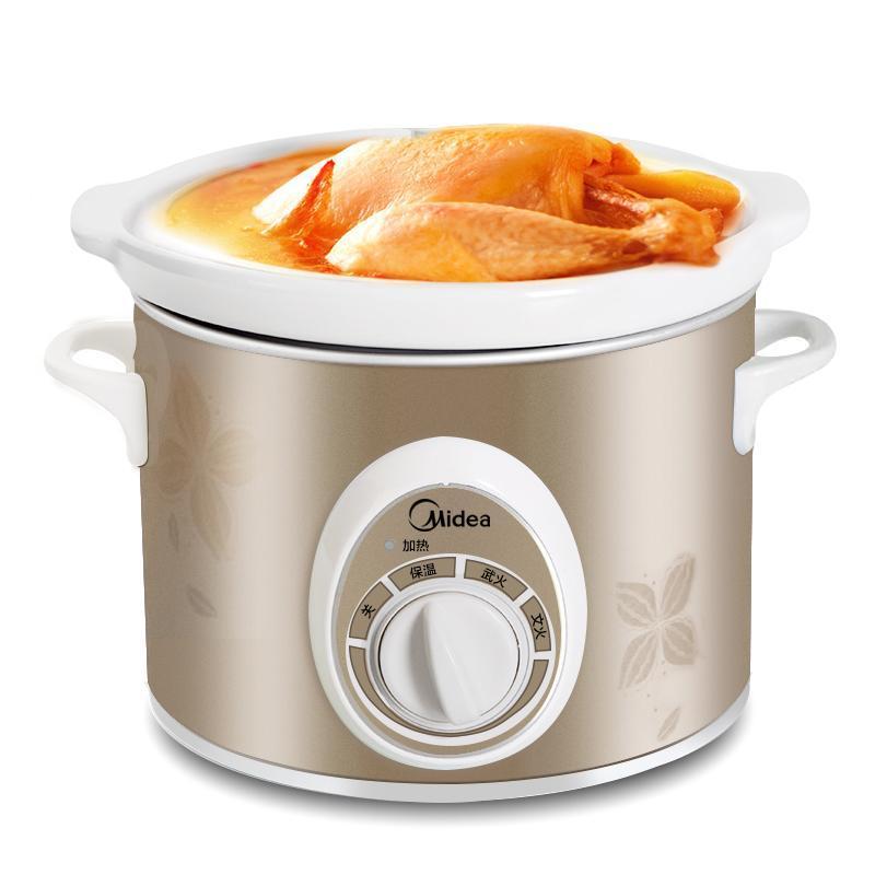 美的2L电炖锅白瓷煲粥煲汤砂锅BGH20A 香槟色 1Pcs