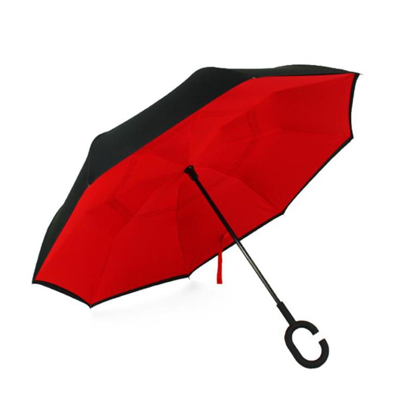 爱车屋创意双层晴雨反向伞I-3071  红色   1Pcs