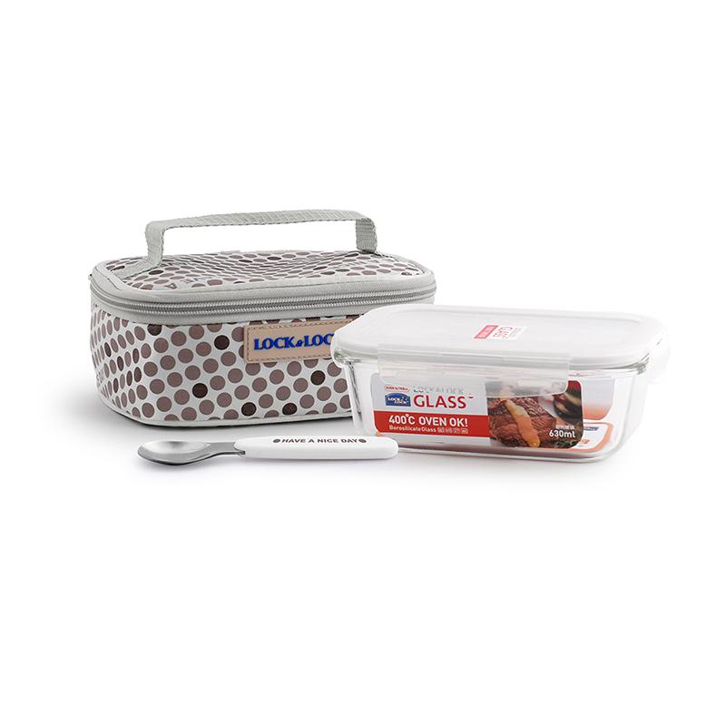 耐热玻璃保鲜盒提袋组合LLG906FU三件装 1Pcs