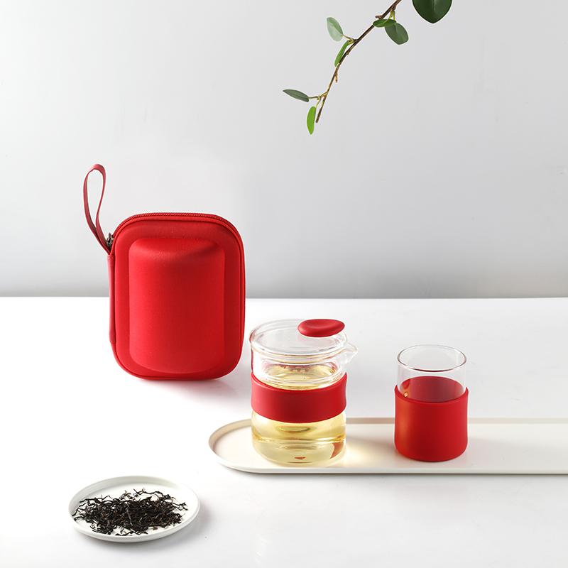 多样屋 Passion 便携玻璃茶杯组  红色 1Pcs