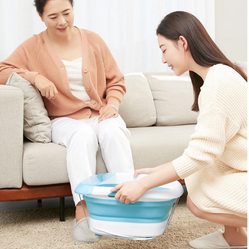 乐范乐伽系列家用小型足浴盆电动按摩折叠泡脚桶足疗神器恒温蓝色 1件