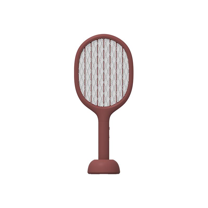 素乐电蚊拍充电式家用强力多功能LED灯电苍蝇拍诱灭蚊子灯红色 1件