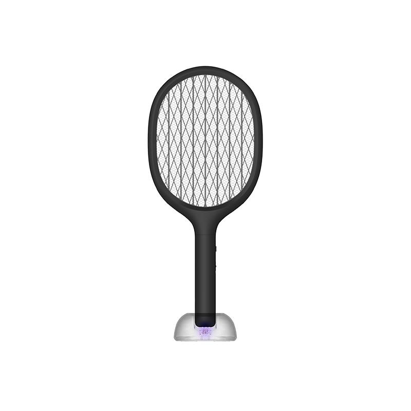 素乐电蚊拍充电式家用强力多功能LED灯电苍蝇拍诱灭蚊子灯黑色 1件