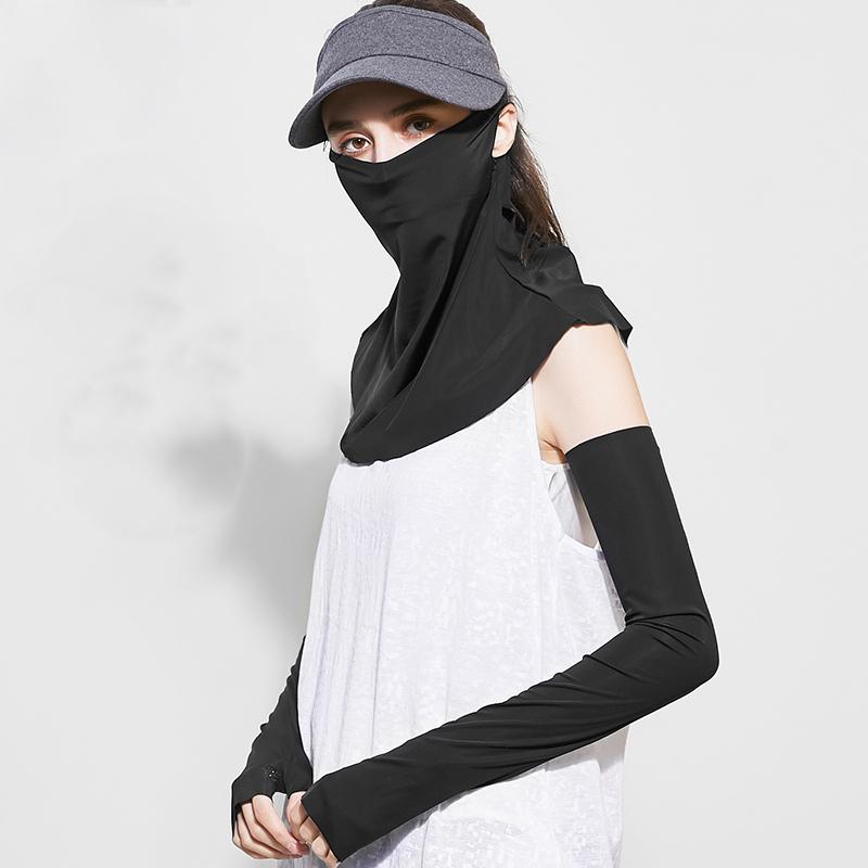 玖慕 防晒面罩 遮全脸护颈冰丝口罩防紫外线护脸遮阳面纱黑色 1Pcs