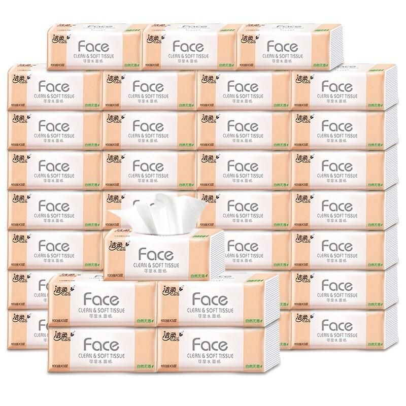 洁柔 抽纸Face自然无香卫生纸3层100抽面巾纸18包 1Pcs